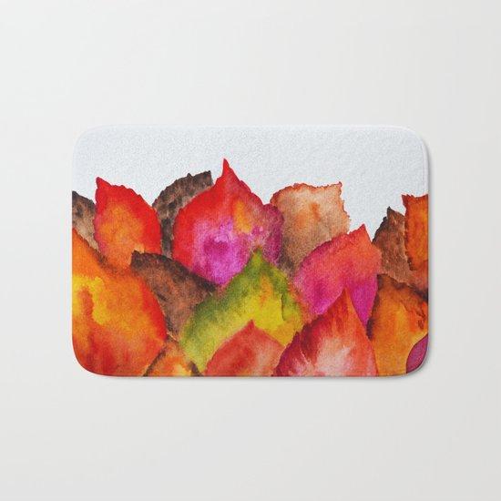 Autumn abstract watercolor 01 Bath Mat