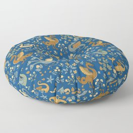 Dragons and Flowers on Classic Blue Floor Pillow