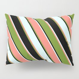 Light Cyan, Salmon, Green, and Black Colored Pattern of Stripes Pillow Sham