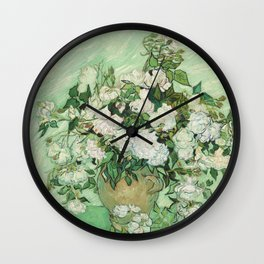 Vase with Pink Roses by Vincent van Gogh Wall Clock