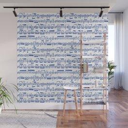 Blue Sheet Music Wall Mural