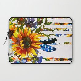 Hand painted yellow orange blue watercolor sunflower pattern Laptop Sleeve