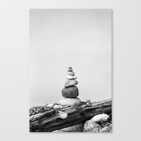 Balance of Nature peppel cairn black white Canvas Print