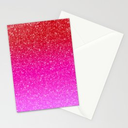 Red/Pink Glitter Gradient Stationery Cards