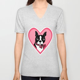 Boston Terrier Love Unisex V-Neck