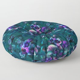Moody Florals petrol by Odette Lager Floor Pillow