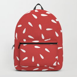 White Raindrops on Red Background Backpack