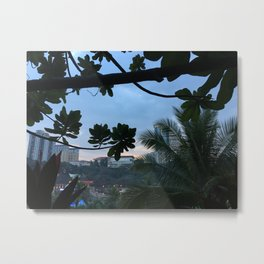 Leaves silhouette and palm trees Metal Print
