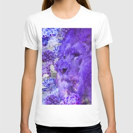 LION AND ORCHIDS  PURPLE AND BLUE FANTASY DREAM T-shirt