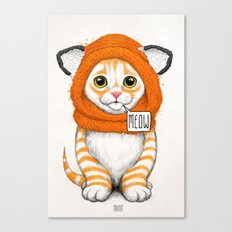 kitten in fox cap Canvas Print