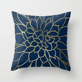 Floral Prints, Line Art, Navy Blue and Gold Throw Pillow