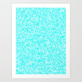 Tiny Spots - White and Aqua Cyan Art Print