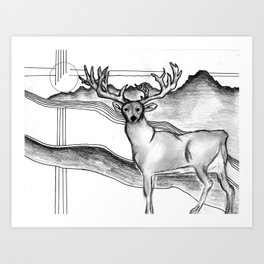 Blue Ridge Deer Art Print