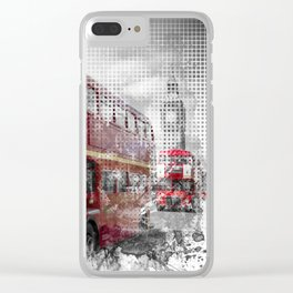 Graphic Art LONDON WESTMINSTER Red Buses Clear iPhone Case