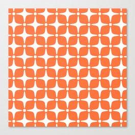 Mid Century Modern Star Pattern Orange 2 Canvas Print