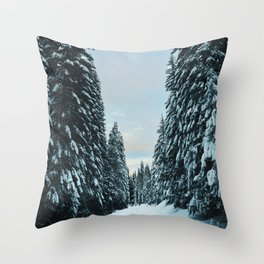 Snow Covered Roads Throw Pillow