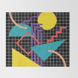 Memphis Pattern - 80s Retro Black Throw Blanket