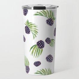Hand painted black green watercolor fruity blackberries Travel Mug