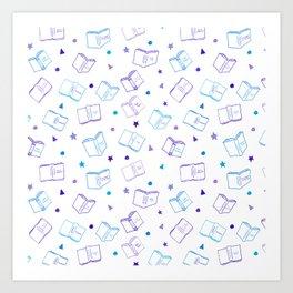 Classic Book Doodles Purple & Blue Art Print