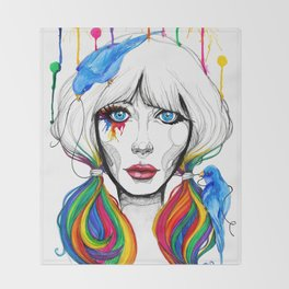 Zooey - Twisted Celebrity Watercolor Throw Blanket