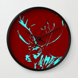Art print: the Reindeer named Caribou (red) Wall Clock