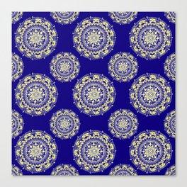 Royal Blue and Gold Patterned Mandalas Canvas Print