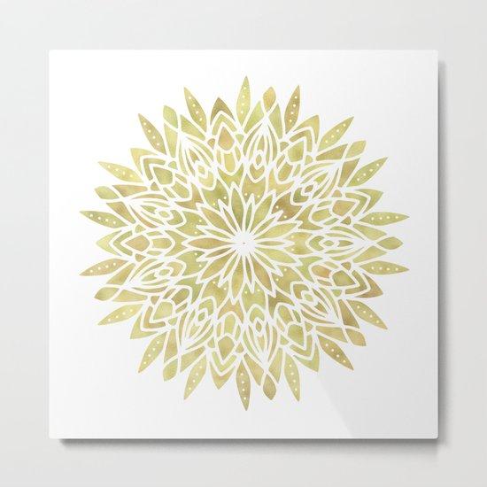 Mandala Yellow Sunflower Metal Print