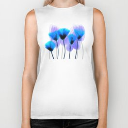 Blue and Lavender Flowers Biker Tank
