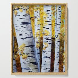 Birch Grove, acrylic painting, inspired by Belarus Serving Tray