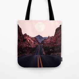 Road Red Moonrise Tote Bag