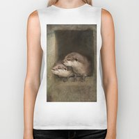 otters Biker Tanks featuring The curious otters by Pauline Fowler ( Polly470 )