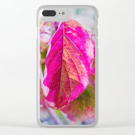 PINK LEAF Clear iPhone Case