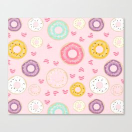 hearts and donuts pink Canvas Print