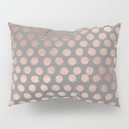 Simple Hand Painted Rosegold polkadots on gray background Pillow Sham