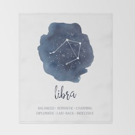 Libra Constellation Zodiac Print Throw Blanket