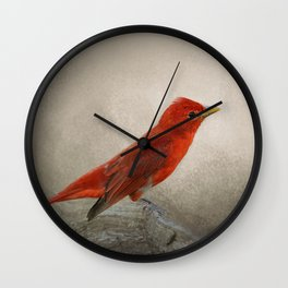 Song of the Summer Tanager 2 - Birds Wall Clock