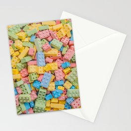 Candy Building Blocks, Multicolored Pastel Pattern Stationery Cards