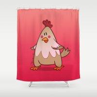 chicken Shower Curtains featuring Chicken by jebirvoki