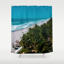 Waves and Palms Shower Curtain