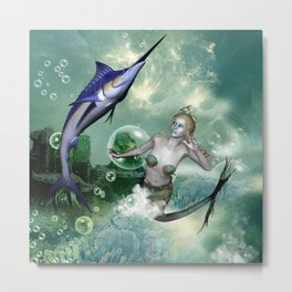 Marlin with mermaid Metal Print