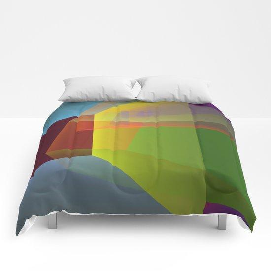Modern colourful translucent cubism Comforters