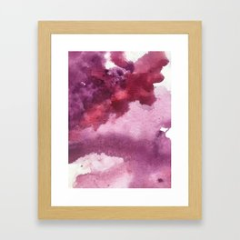 Blushing [5]: a minimal abstract watercolor and ink piece in shades of purple and red Framed Art Print