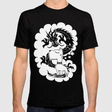 rad self-aggrandizing dog dragon SMALL Black Mens Fitted Tee