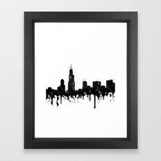 Watercolor Chicago Skyline Framed Art Print