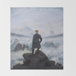 Wanderer Above the Sea of Fog Throw Blanket