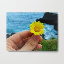 Holding a flower Metal Print