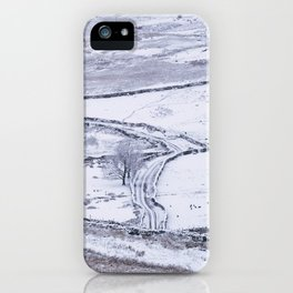 Mountain road covered in snow. 'The Struggle', road to Ambleside from the Kirkstone Pass. iPhone Case
