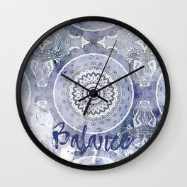 Blue Watercolor Mandala Painting with Word Balance Wall Clock