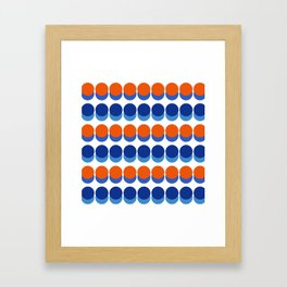 Vibrant Blue and Orange Dots Framed Art Print