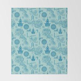 Blue Dragon Chinoiserie Throw Blanket